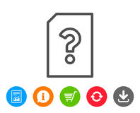Unknown Document line icon. File with Question. Stock Image