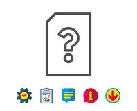 Unknown Document line icon. File with Question. Royalty Free Stock Images