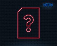 Unknown Document line icon. File with Question. Neon light. Unknown Document line icon. File with Question mark sign. Untitled Paper page concept symbol Royalty Free Stock Images