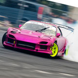 Unknown driver drifting demonstration royalty free stock image