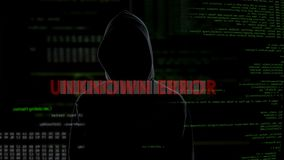 Unknown error warning message about unsuccessful hacking attempt on server. Stock footage stock video