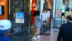 Unknown female dancing on Las Vegas Strip, USA, stock video footage