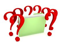 Unknown file folder with question marks Stock Photos