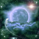 Unknown flying object against a background of a planet in a green nebula. stock illustration
