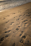 The unknown footprint on the beach of Brighton beach of Melbourne, Australia. The abstract pictures of some tourist footprint travel on the beach Royalty Free Stock Images