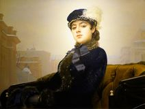 Russian painter Ivan Nikolayevich Kramskoy`s paintings, `Unknown Girl` royalty free stock image