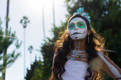 Unknown girl at the 15th annual Day the Dead Festival. Los Angeles, CA - November 1, 2014:  Unknown girl at the 15th annual Day of the Dead Festival (Dia de los Royalty Free Stock Photos