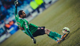 Unknown goalkeeper player performs Stock Images