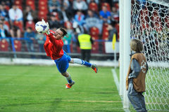 Unknown goalkeeper player performs Royalty Free Stock Photography