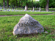 Unknown Grave. An unknown grave in Springdale Cemetery, Peoria, Illinois Royalty Free Stock Image