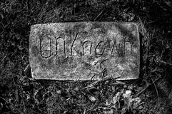 Unknown Grave Marker - B&W Stock Photo