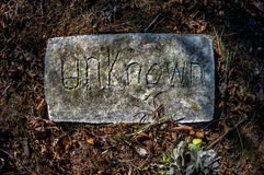 Unknown Grave Marker Stock Photo