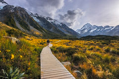 Unknown hiker hiking the Hooker Valley track, Mount Cook, New Zealand Stock Photos