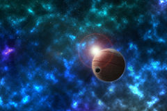 Unknown imaginary planet with the satellite in a beautiful space Royalty Free Stock Images