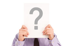 Unknown Man. Torso of Man in Shirt Holding Question Mark Royalty Free Stock Images
