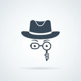 Unknown man in hat, spectacles and a magnifying glass in hand. Inspector. Royalty Free Stock Image