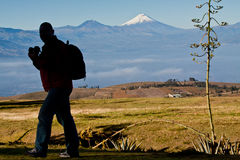 Unknown man walking in the andean highlands Royalty Free Stock Images