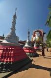 Unknown monk visits  Kyaik Pun Pagoda in Bago,Myanmar. Royalty Free Stock Photography