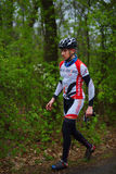 Unknown mountain bike cyclists Royalty Free Stock Photography