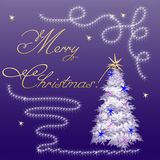 Christmas card with a Christmas tree on a blue background. New Year's greetings Royalty Free Stock Image