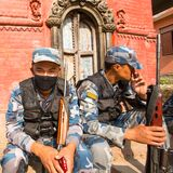Unknown nepalese soldiers Armed Police Force near the public school Royalty Free Stock Photos