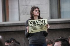 Unknown opposition to action in support of Alexei Navalny Stock Photography