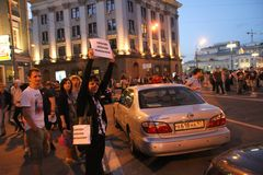 Unknown opposition to action in support of Alexei Navalny Stock Images