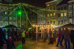 WARSAW, POLAND - JANUARY 01, 2016:  Celebrating the New Year 2016 in Warsaw. Royalty Free Stock Photography