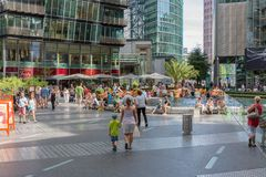 Unknown people are shopping in the famous Sony cen. BERLIN, GERMANY - JULY 24: Unknown people are shopping in the famous Sony center near Potsdamer Platz in stock image