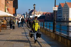 Unknown people walking on historical part of Gdansk Poland 2018/September stock photos