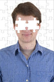 Unknown person with absence of eyes stock photography