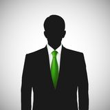Unknown person silhouette whith green tie Royalty Free Stock Photography