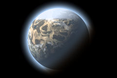 Unknown planet. Blue planet generated by computer Stock Photo