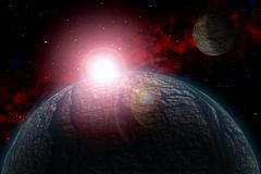 Unknown planet. Color star, sun, moon, stars, space nebula. Basis: author`s phototextures. Set of unknown planets, with atmospheres of different colors, star Stock Photo