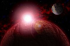 Unknown planet. Color star, sun, moon, stars, space nebula. Basis: author`s phototextures. Set of unknown planets, with atmospheres of different colors, star Royalty Free Stock Photo