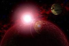 Unknown planet. Color star, sun, moon, stars, space nebula. Basis: author`s phototextures. Set of unknown planets, with atmospheres of different colors, star Royalty Free Stock Photography