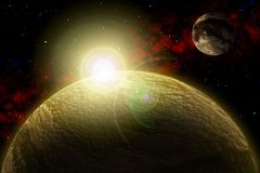 Unknown planet. Color star, sun, moon, stars, space nebula. Basis: author`s phototextures. royalty free illustration