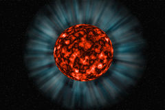 Unknown planet on a dark background. Unknown fiery planet on a dark  background in space Stock Photography
