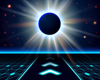 Unknown planet eclipse. Abstract cosmic background Stock Images