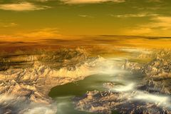 Unknown planet. Mountains Stock Images
