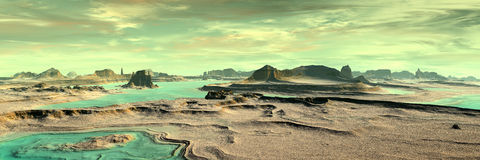 Unknown planet. Mountains. Panorama Stock Images