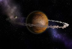 Unknown planet with rings asteroids. Space exploration royalty free illustration