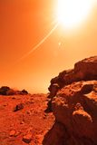Unknown planet. View of the red terrestrial planet Stock Photos