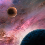 Unknown planets in deep space stock illustration