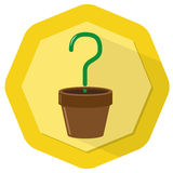 Unknown plant. Illustration with yellow badge background Stock Image