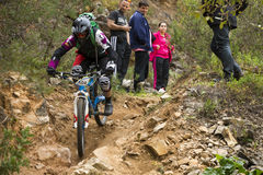 Unknown racer on the competition of mountain bike Royalty Free Stock Photography