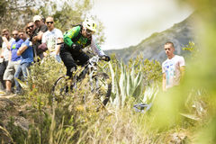 Unknown racer on the competition of mountain bike Stock Photography