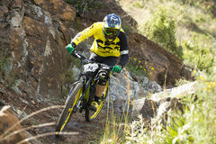 Unknown racer on the competition of mountain bike Royalty Free Stock Images