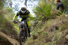 Unknown racer on the competition of mountain bike Stock Photo