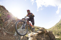 Unknown racer on the competition of mountain bike Royalty Free Stock Photos